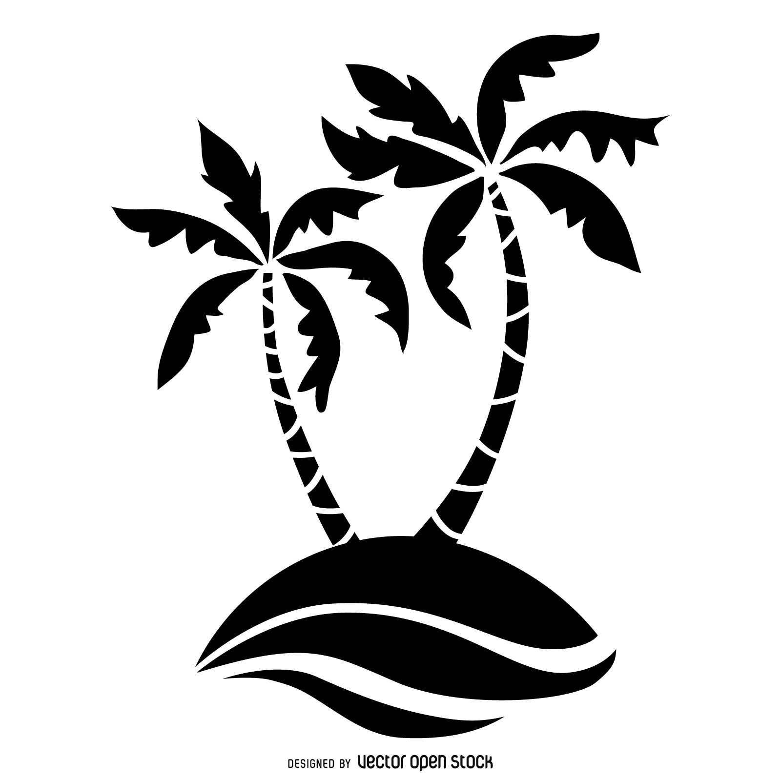 Flat Illustrated Palm Trees In Black Over White