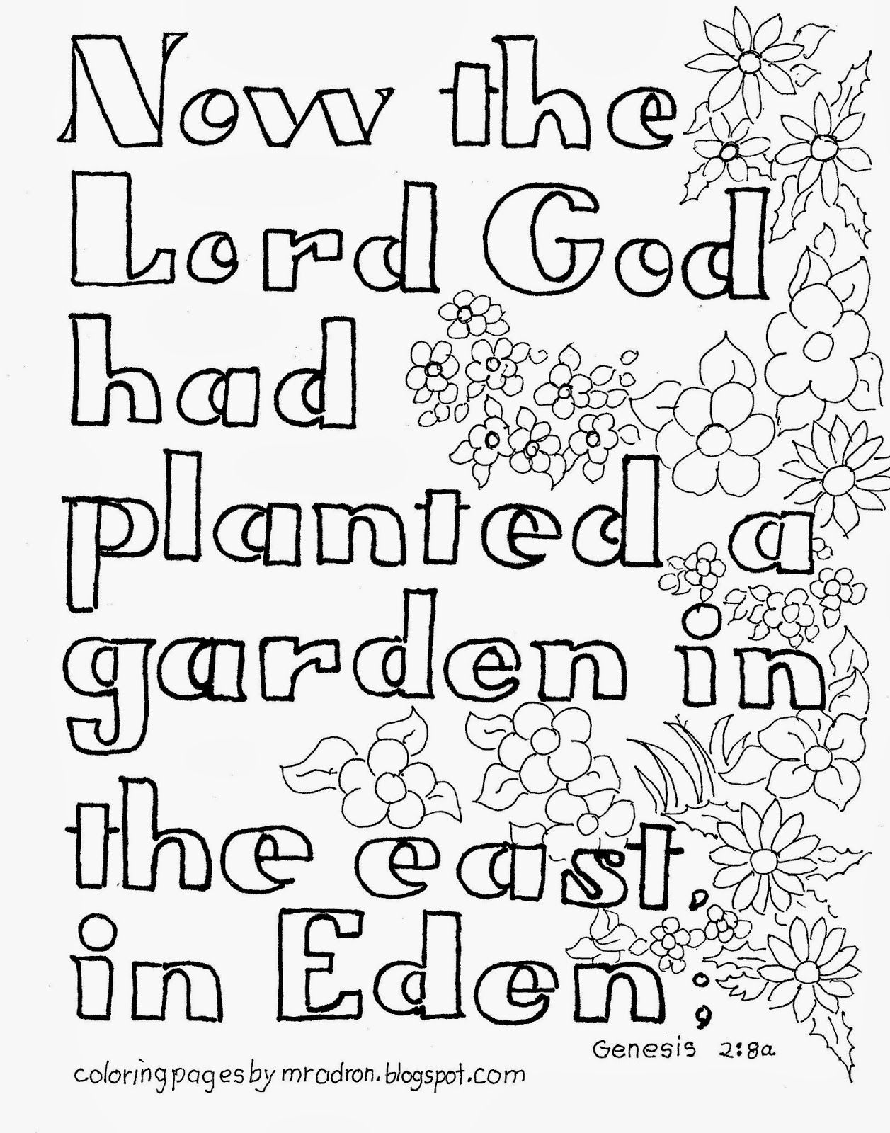 Coloring Pages For Kids By Mr Adron Garden Of Eden Bible Verse Free Kid S Coloring Pag