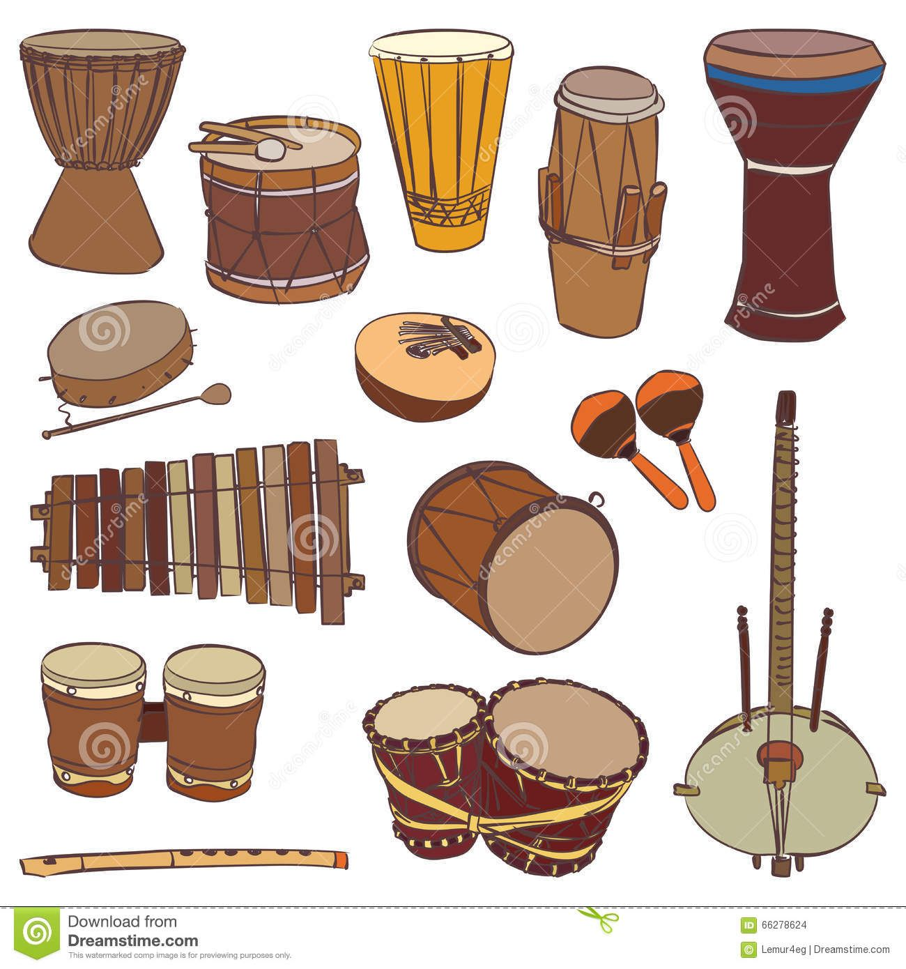 African Traditional Musical Instruments Vector Contour Set Music Billboard