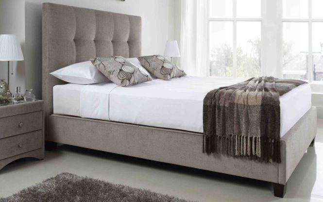 5ft King Size Kaydian Walkworth Mink Ottoman Fabric Bed Frame Mattress Options