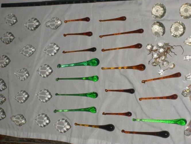 Vintage Chandelier Parts Glass Crystal Prisms Dangle Mixed Lot 10