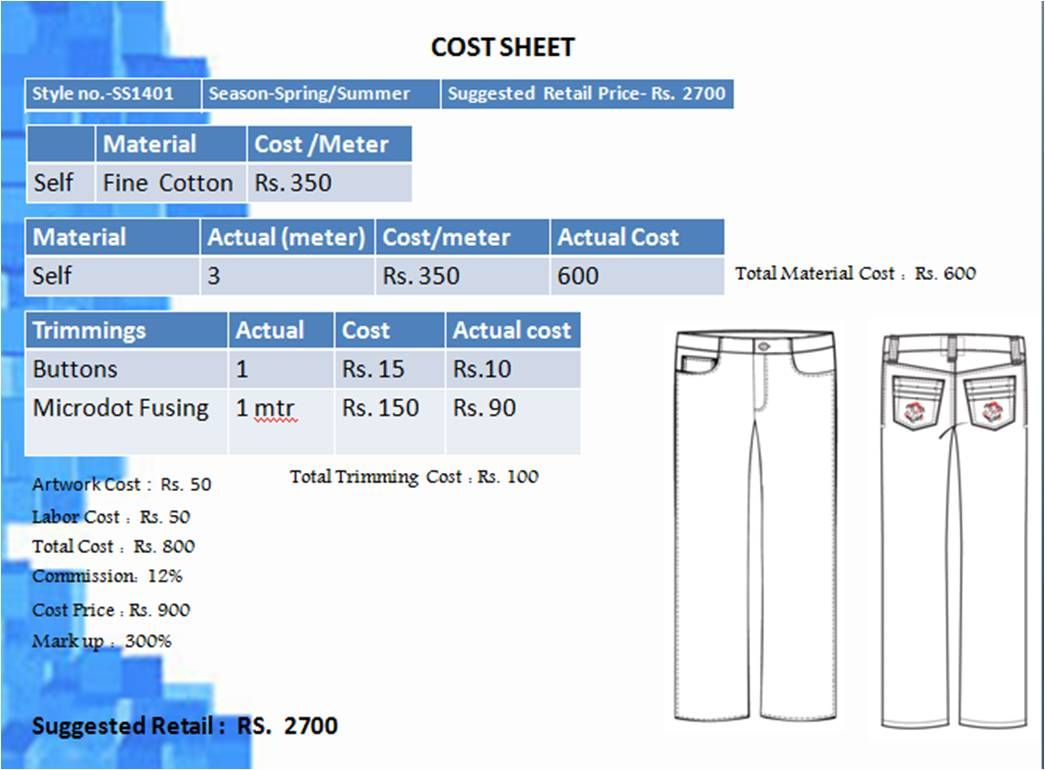 Tech Pack Cost Sheet Trousers