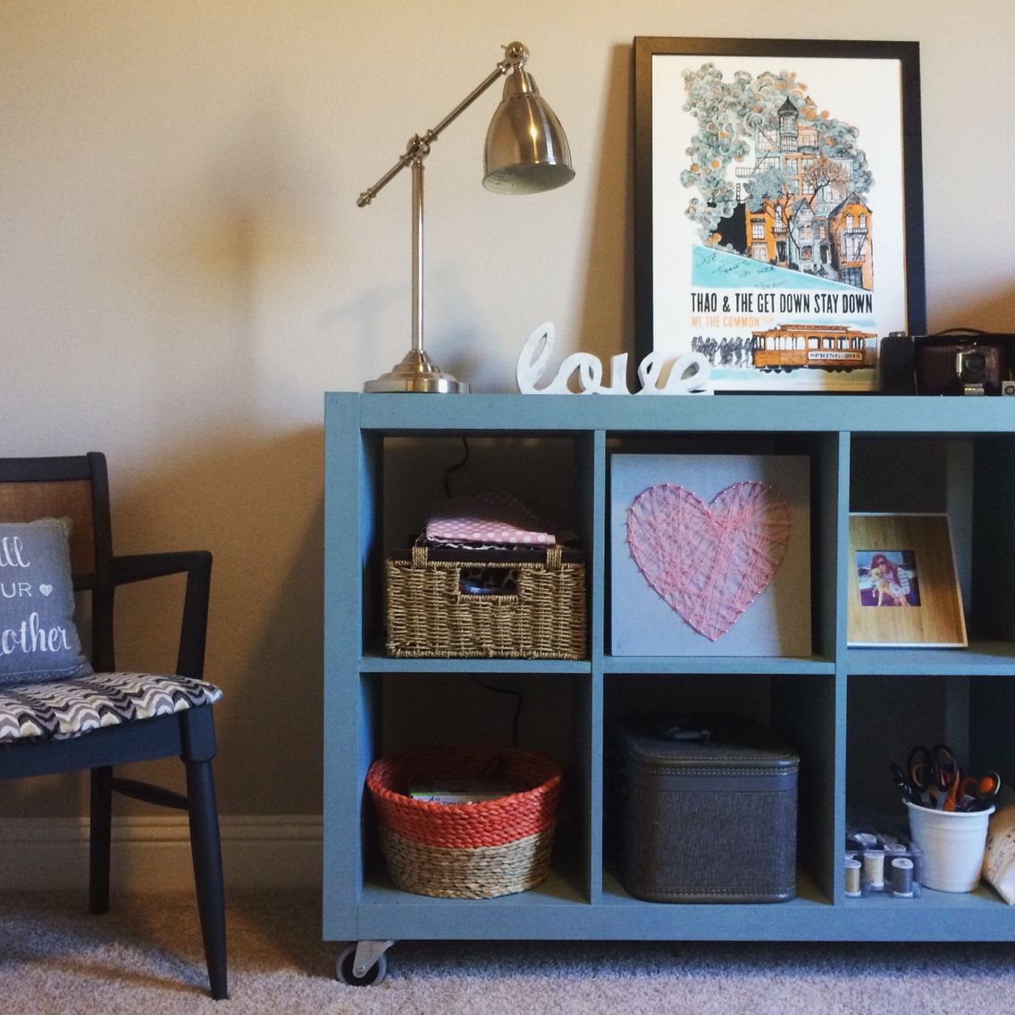 Expedit Ikea Bookshelf Painted Duck Egg Blue With Annie
