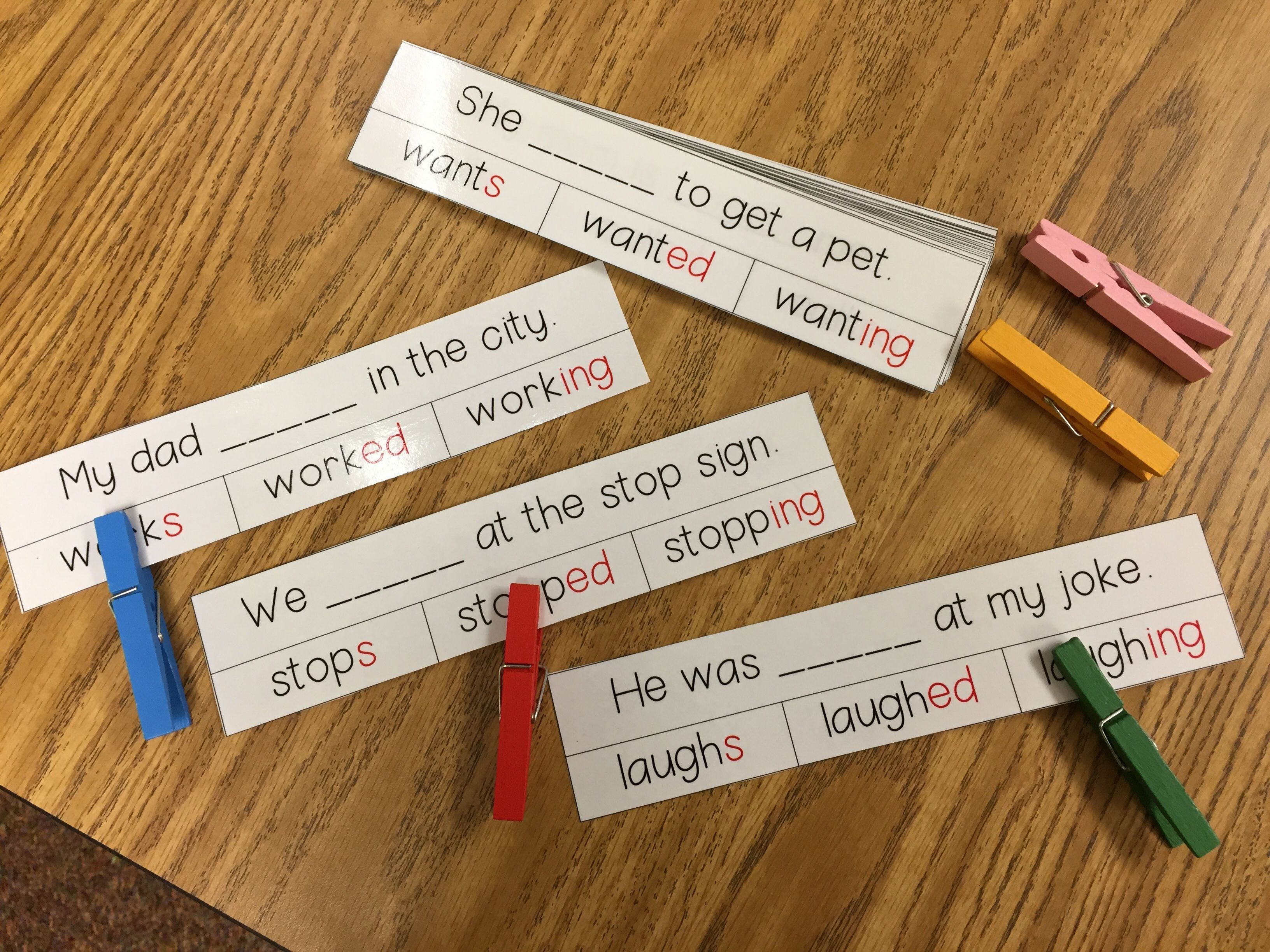 Inflectional Word Endings Clip Cards Worksheets And