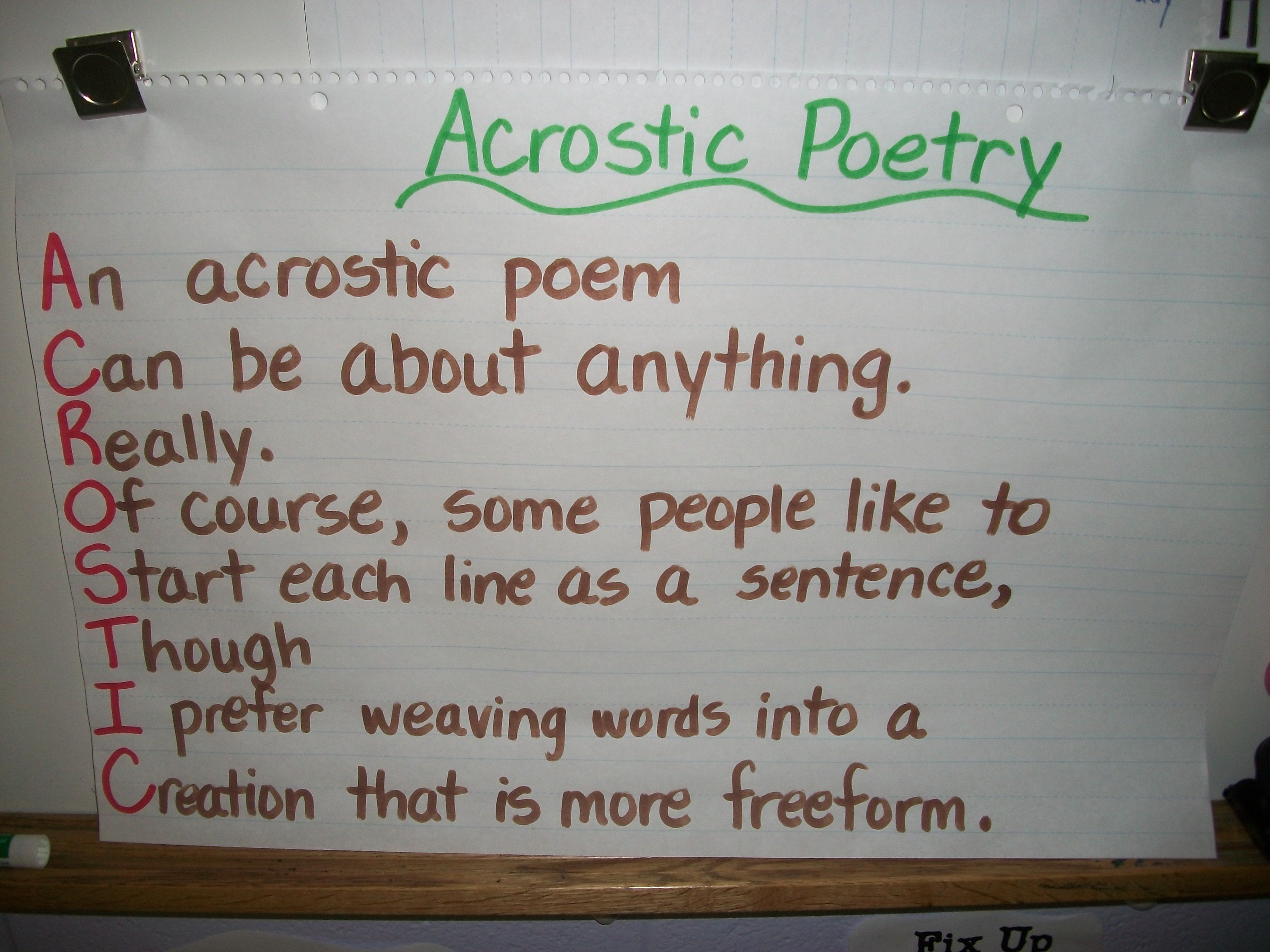 Acrostic Poetry Anchor Chart