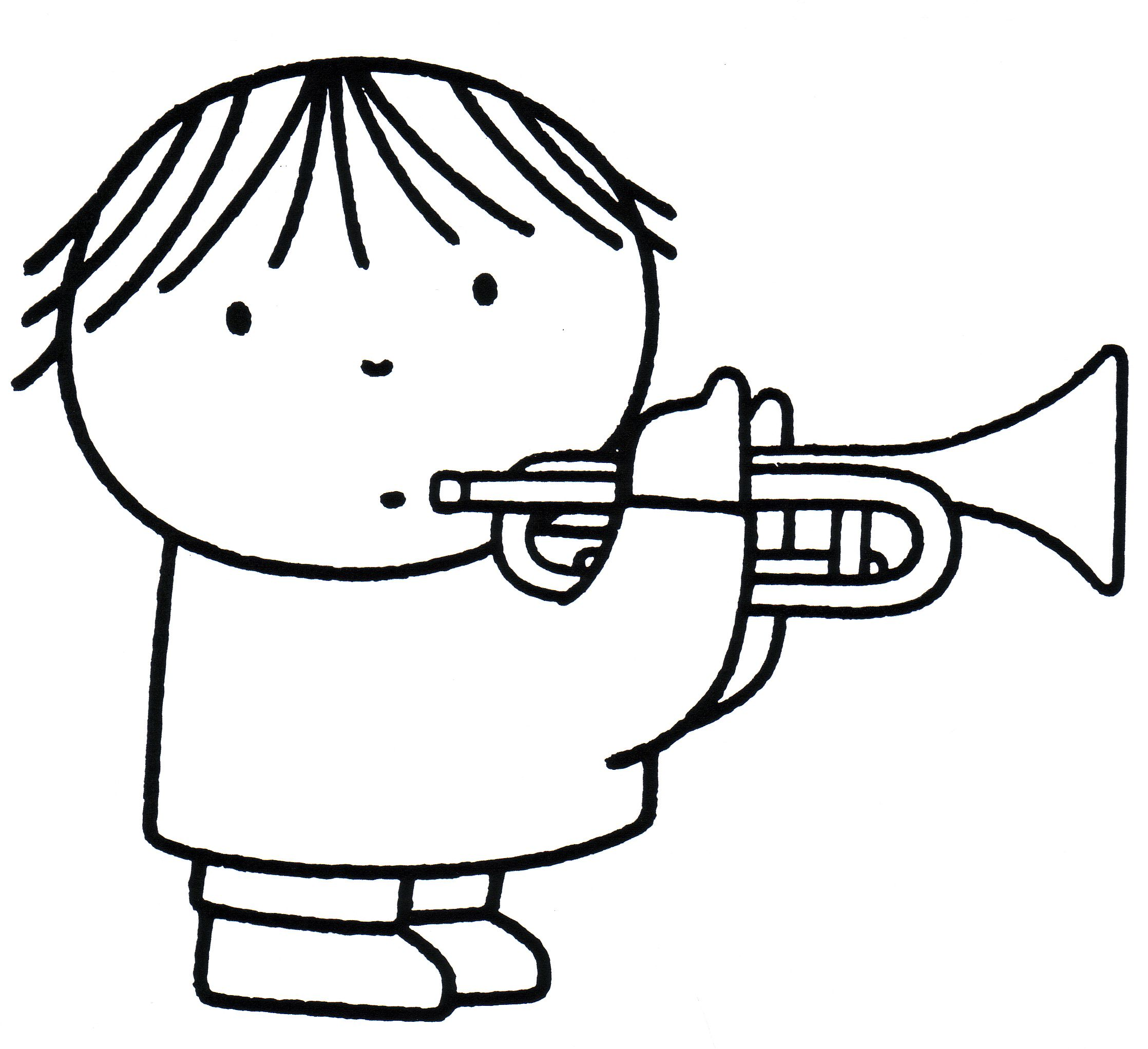 Dick Bruna Kleurplaat Trompet Muziek Coloring Trumpet Music Knutselen