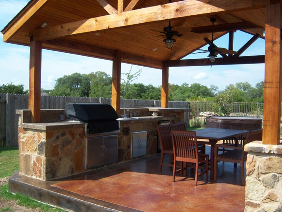 Gable Roof Stained Concrete Backyard Ideas Pinterest
