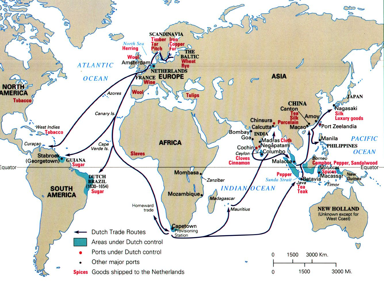 Map Of Dutch Trade Routes