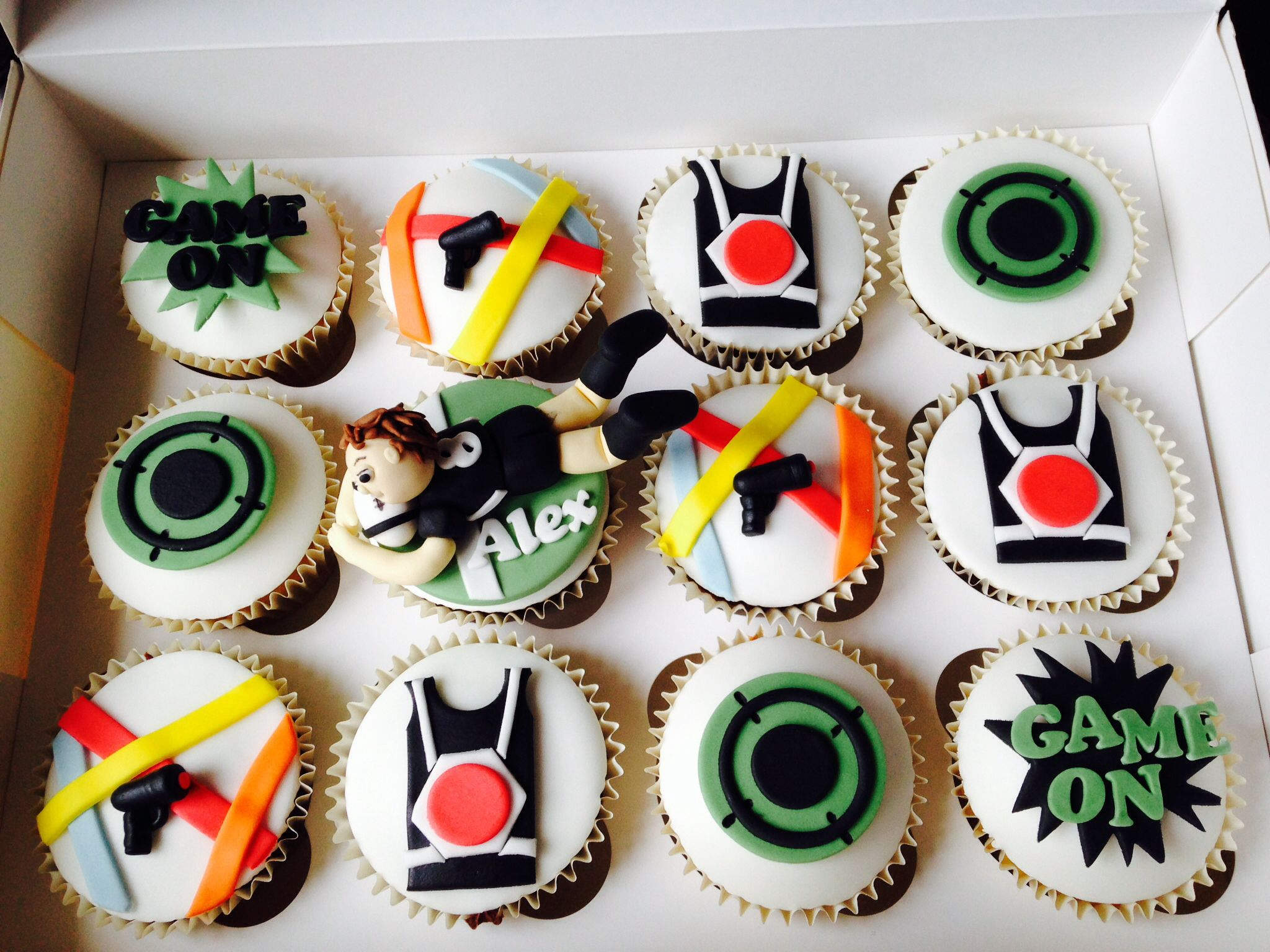 Laser Quest Cupcakes And Rugby Player Cupcake Topper