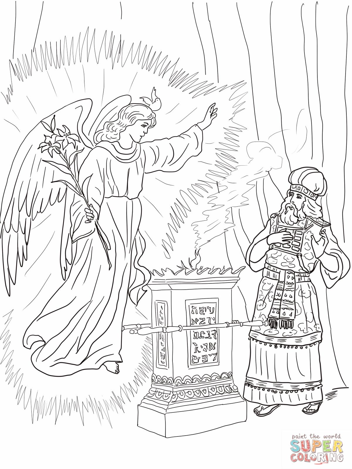 2 Angel Visits Zechariah Coloring Page Pixels