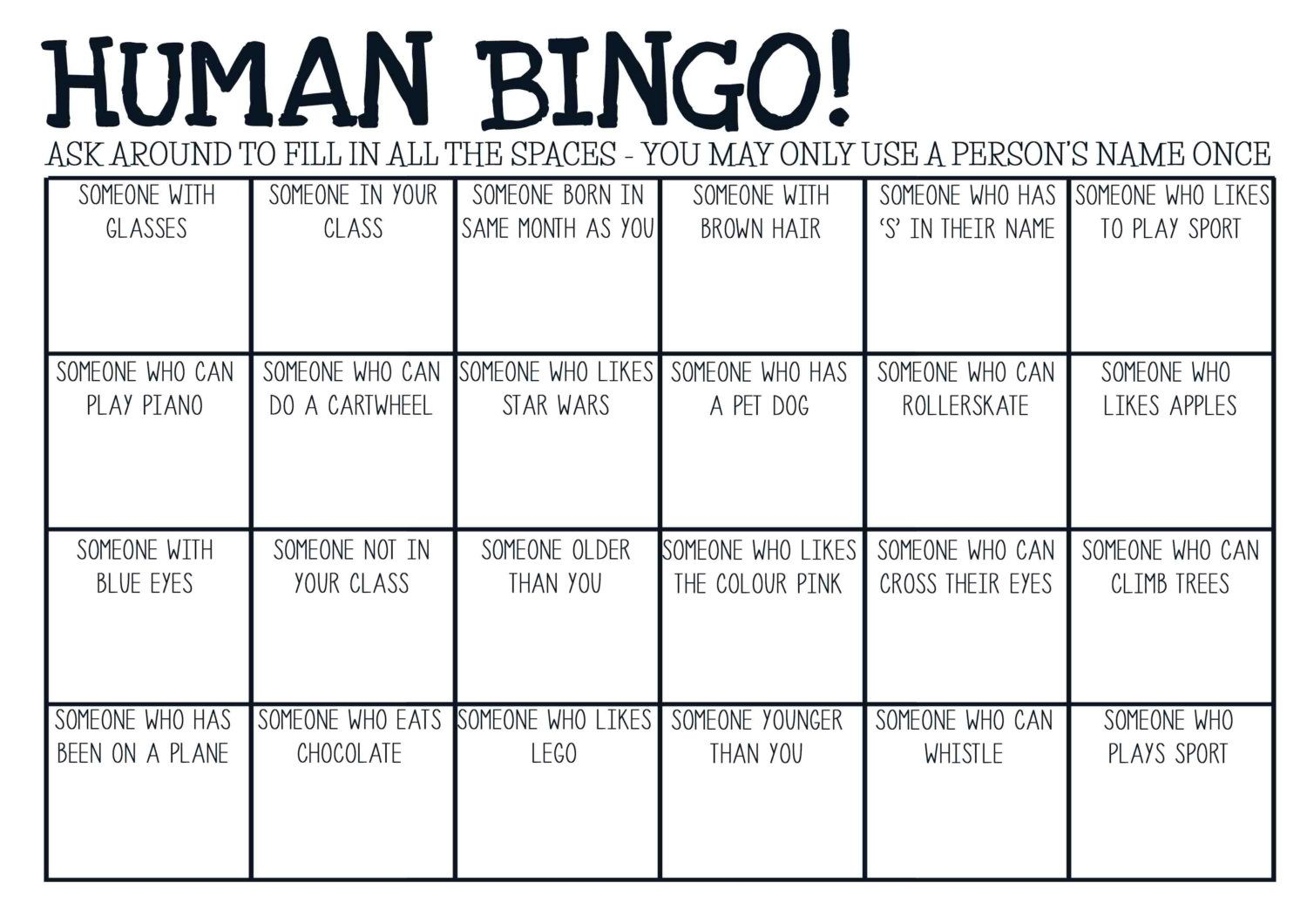 Printable Human Bingo Game Ice Breaker By