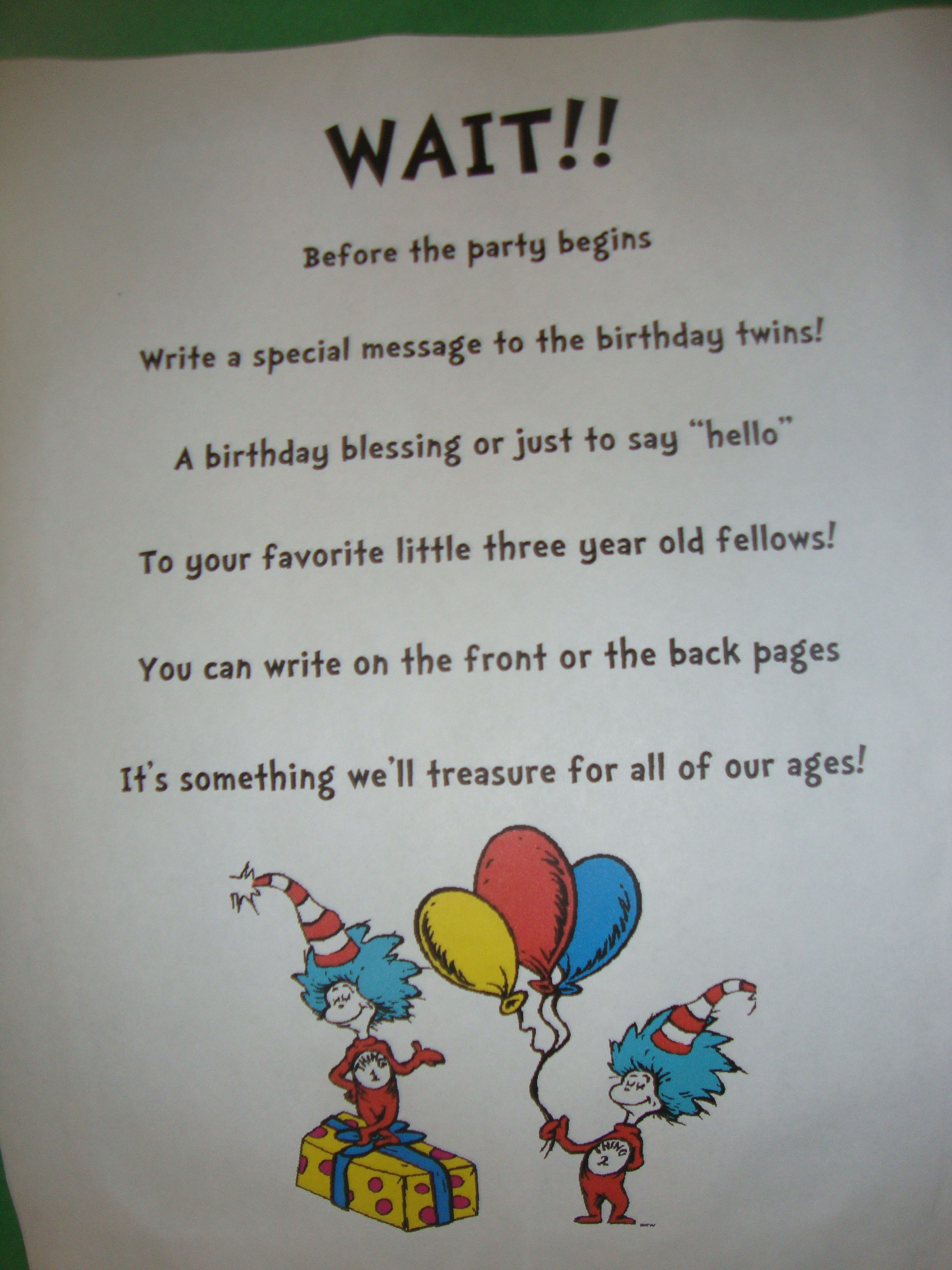 Book Signing Poem Dr Seuss Birthday Party Pinterest