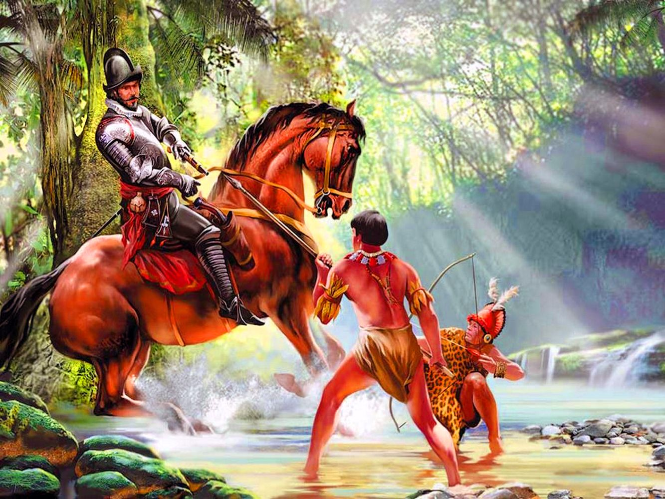 Spanish Conquistador Battling The Native Indians In The New World