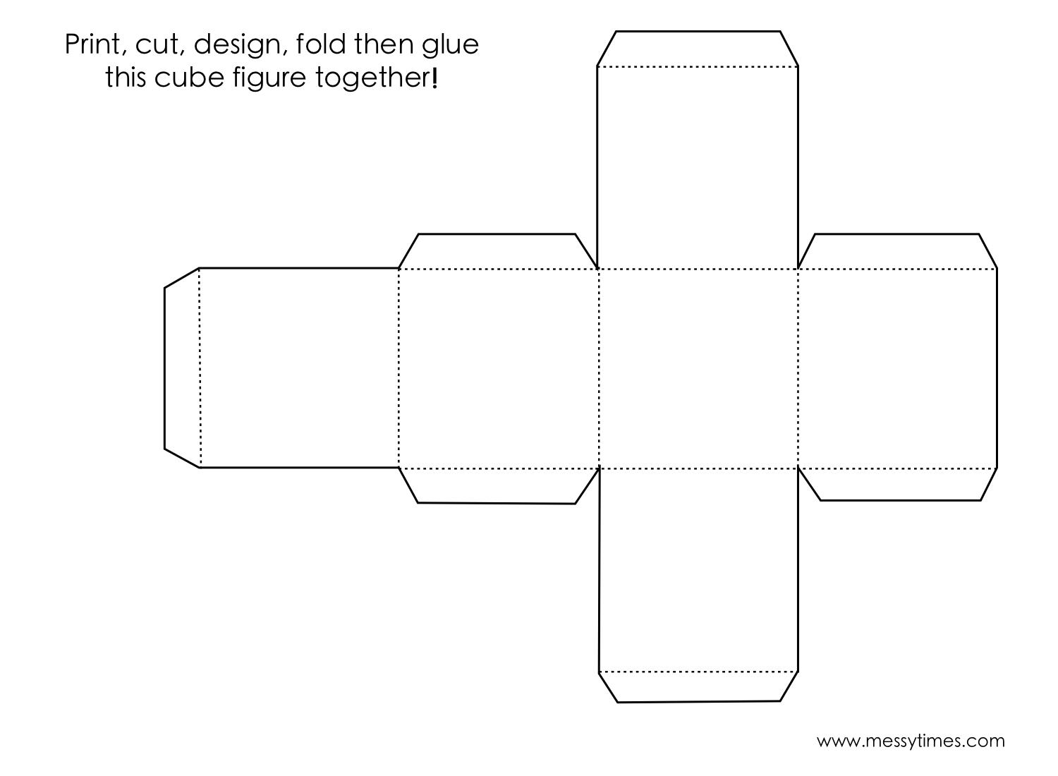 A 3d Cube Object To Cut Design Fold And Glue Together