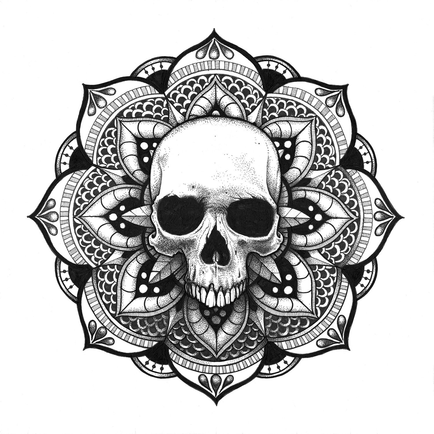 Sugar Skull Mandala Coloring Pages