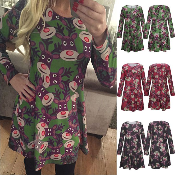 Cool Awesome Women Christmas Reindeer Swing Dress Xmas Party Long