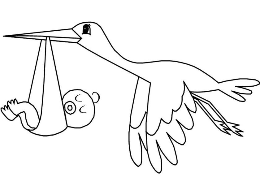flying stork bird  baby coloring pages for kids