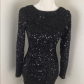 Black sequin longsleeve cocktail dress black sequins body con and