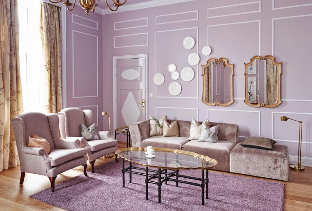 Living Room , Beautiful Lavender Living Room With Romantic