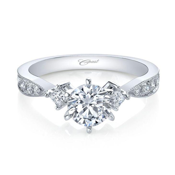 Coast Engagement Ring Princess Cut Diamond Accents LC
