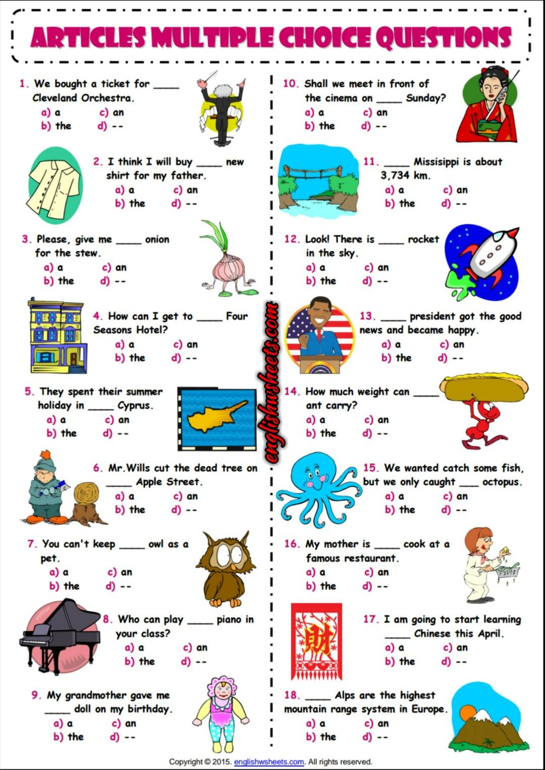 Articles Esl Printable Multiple Choice Questions Worksheet