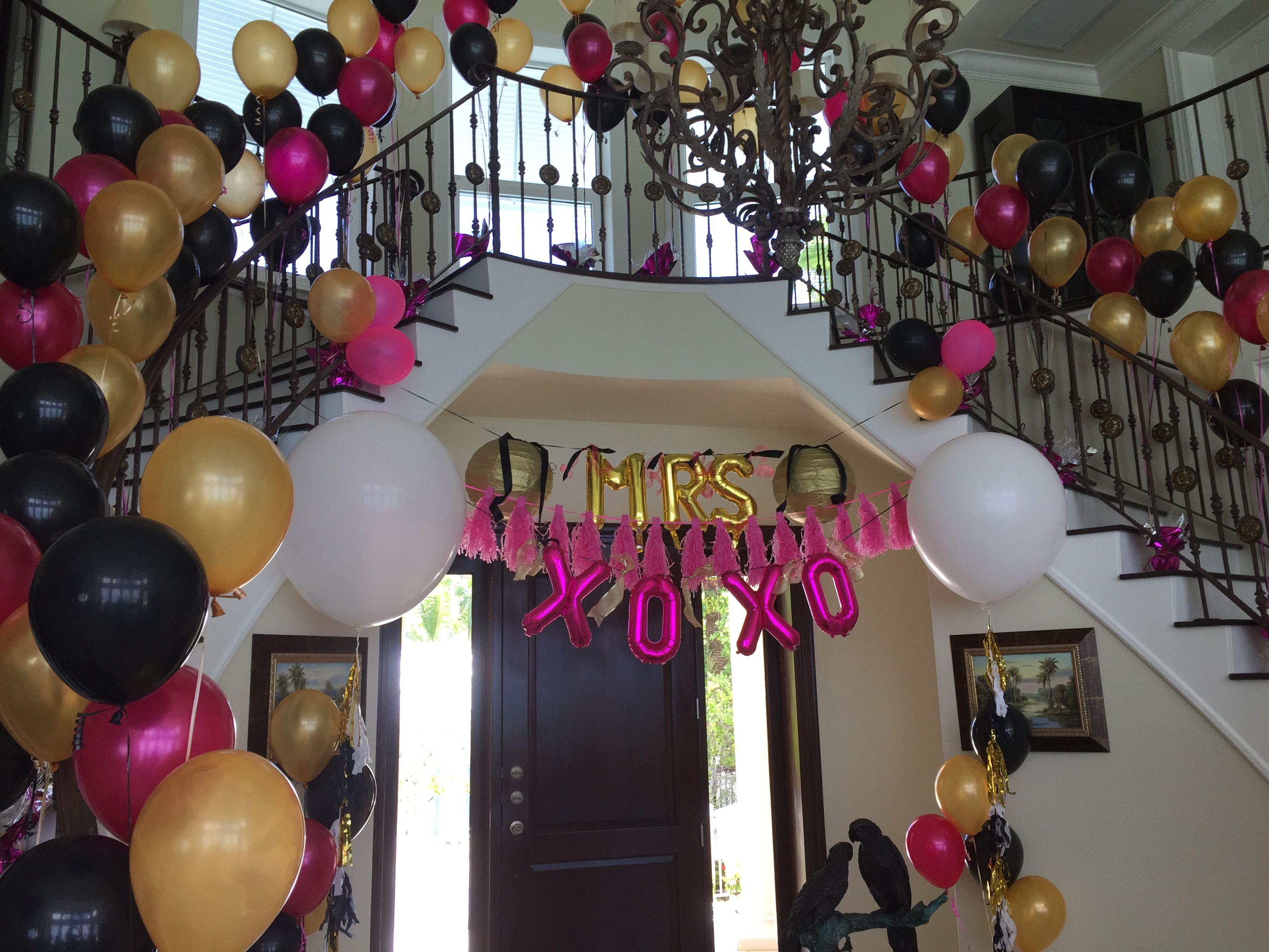 "Pink, Gold & Black Entrance Way With Large ""MRS"" And ""XOXO"
