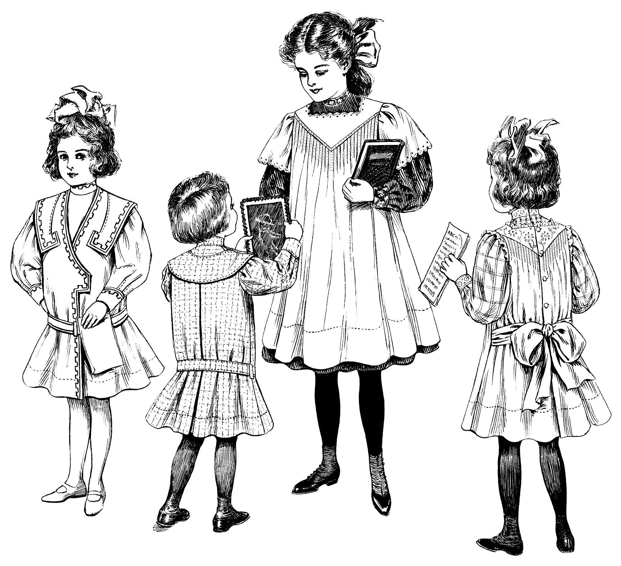 Vintage Children Clip Art Edwardian Girls Fashion Free