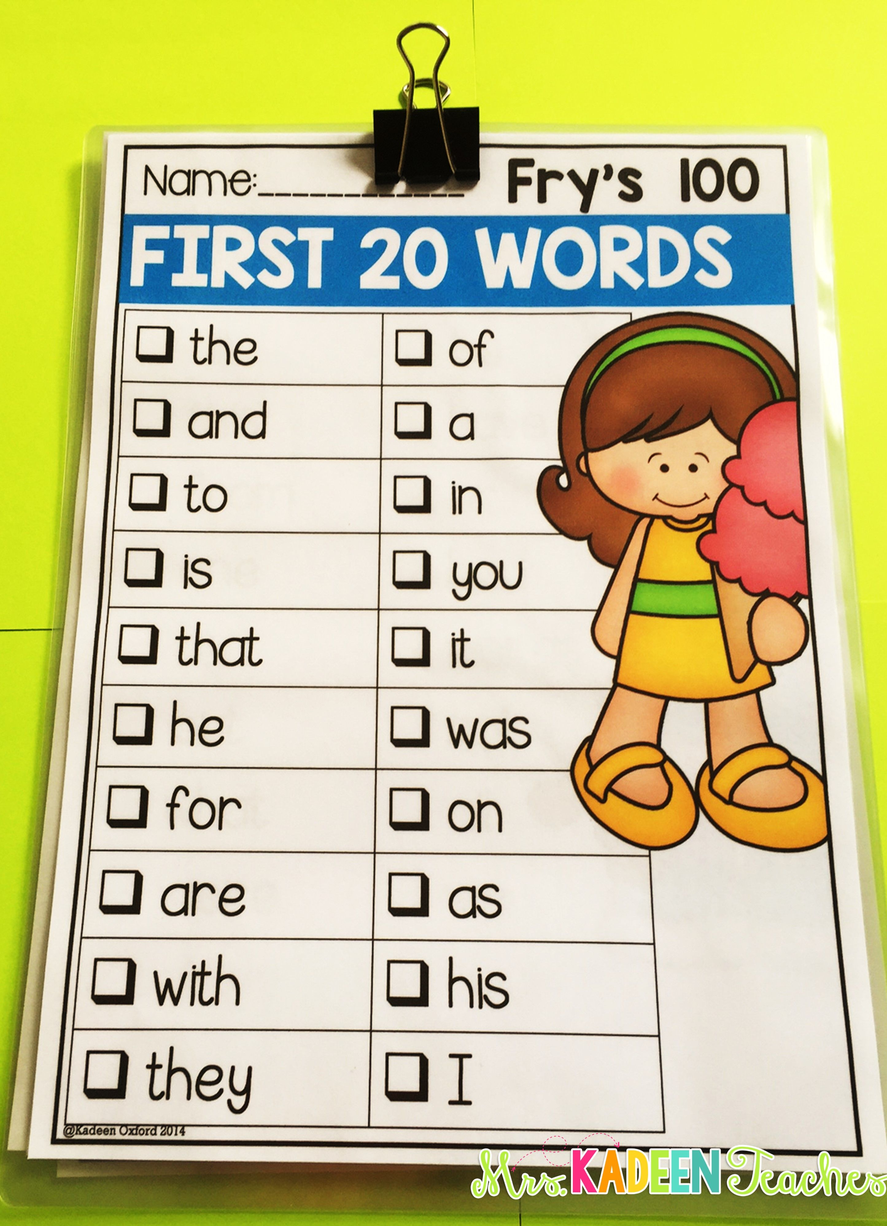 Sight Word Checklists Editable
