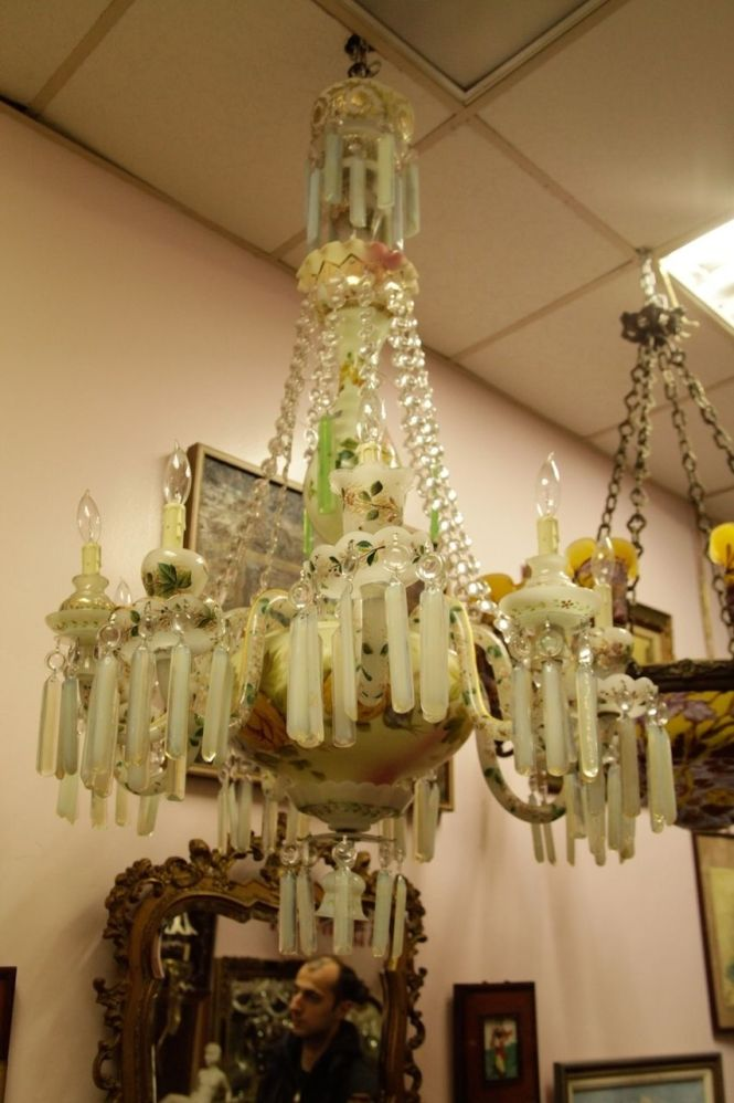 Lot 178 S95 French Opaline Milky Crystal 9 Lights Chandelier Est 3000