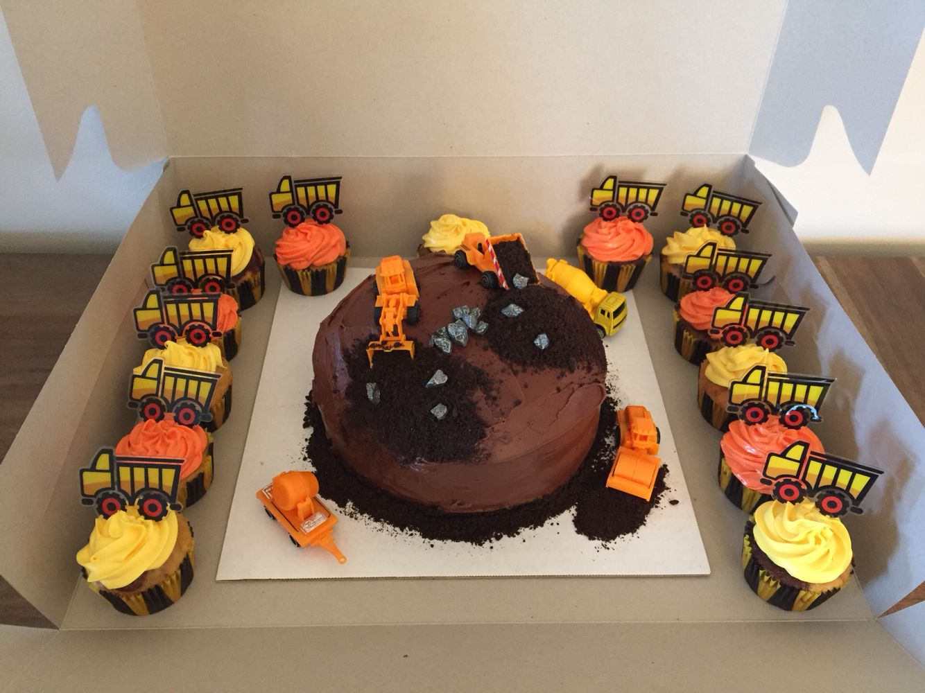 Construction Truck Cake And Cupcakes