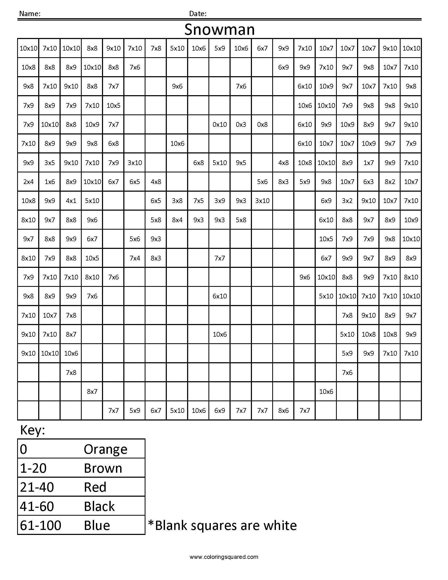 Snowman Holiday Multiplication Worksheet