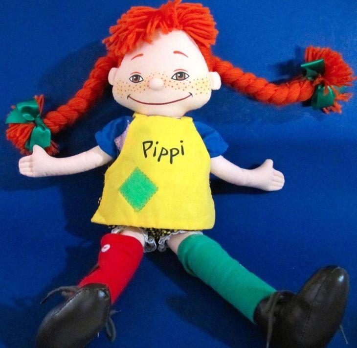 Pippi Longstocking Doll  in tall Stuffed Cloth Doll Artist