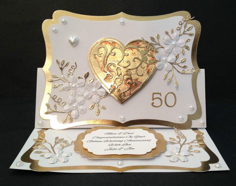 Handmade Card 50th/Golden Wedding Anniversary PERSONALISED