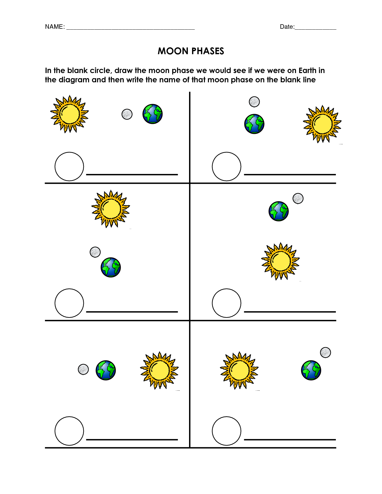 Blank Moon Phases Worksheet