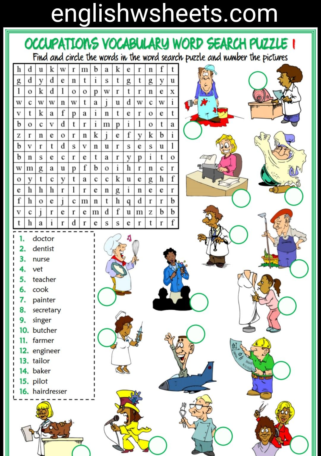 Jobs Esl Printable Word Search Puzzle Worksheets For Kids