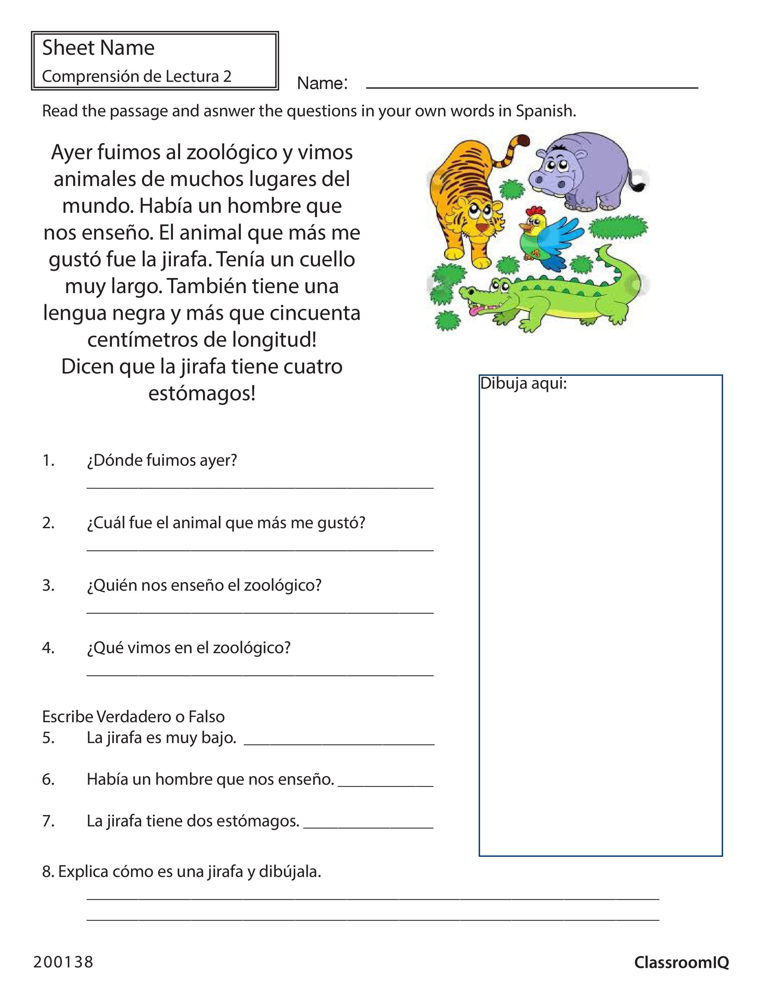 Respond To Passage Zoo Spanishworksheet Newteachers