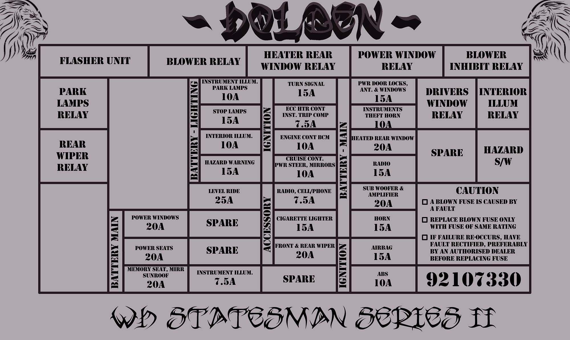 Wh Statesman Series Ii Fuse Relay Diagram