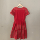 Anthro bordeaux red striped dress anthropologie beige and