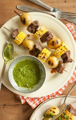 Image result for MEAT AND POTATO KABOBS WITH HOMEMADE STEAK SAUCE