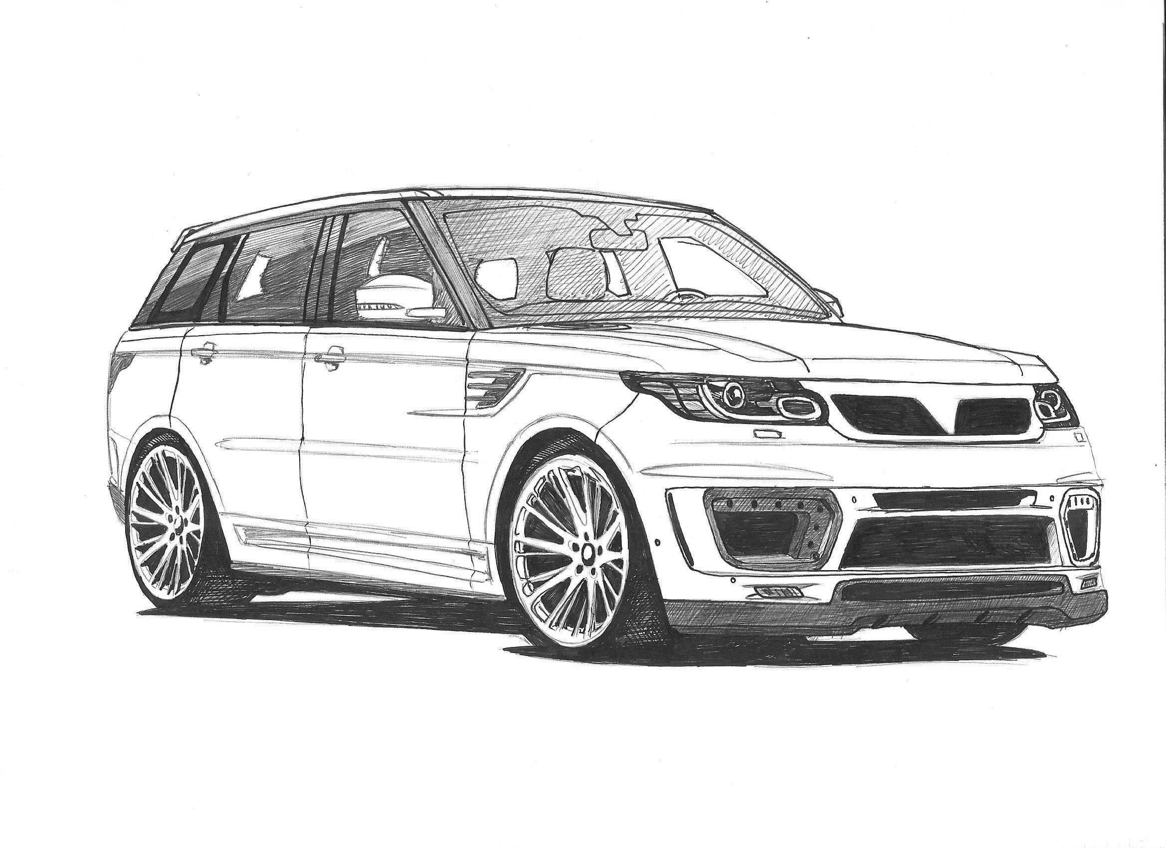 Sketch of body kit for the new range rover sport Aspire