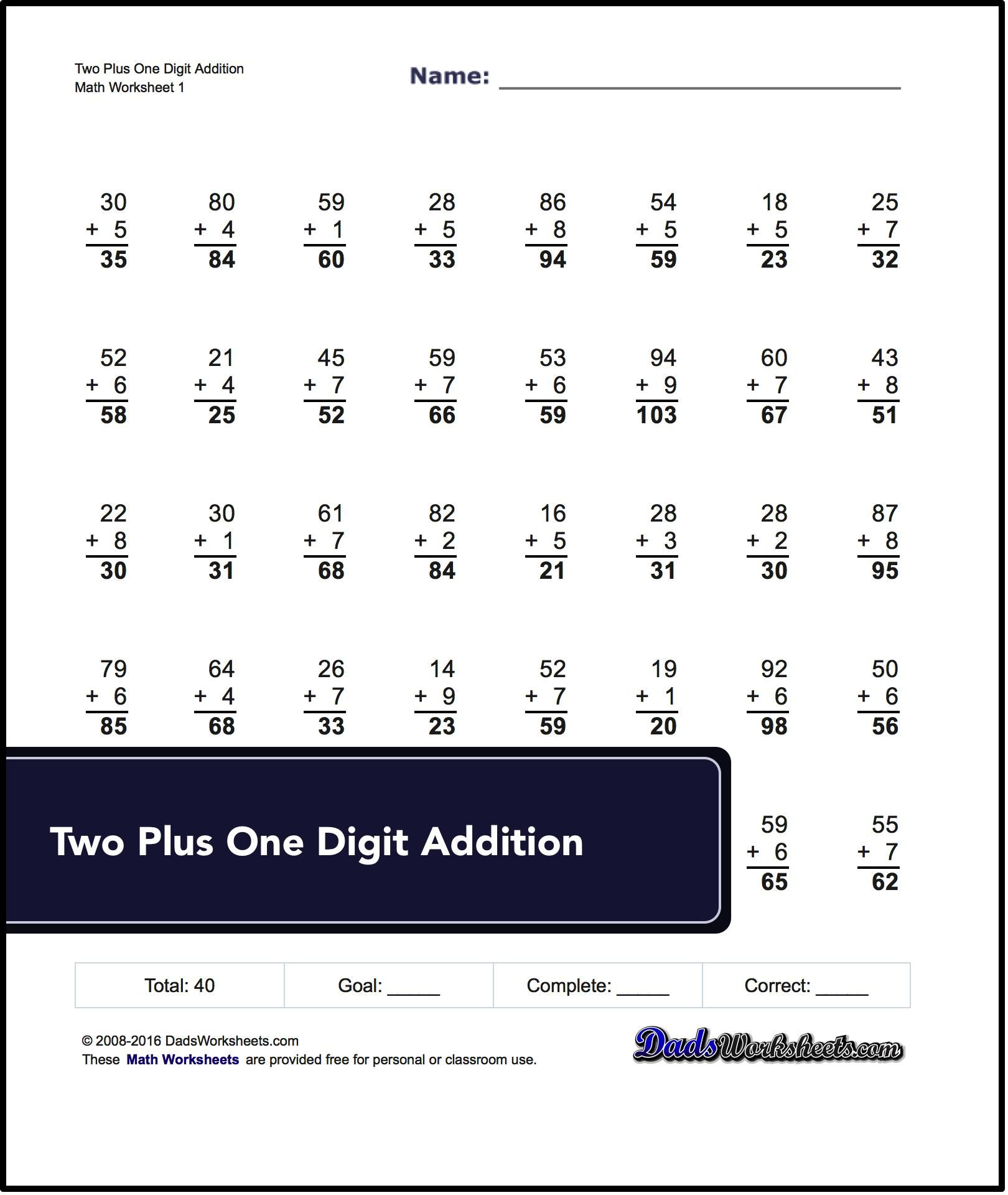 Spaceship Math Addition Worksheets Multiple Digit Addition Worksheets No Carrying Addition