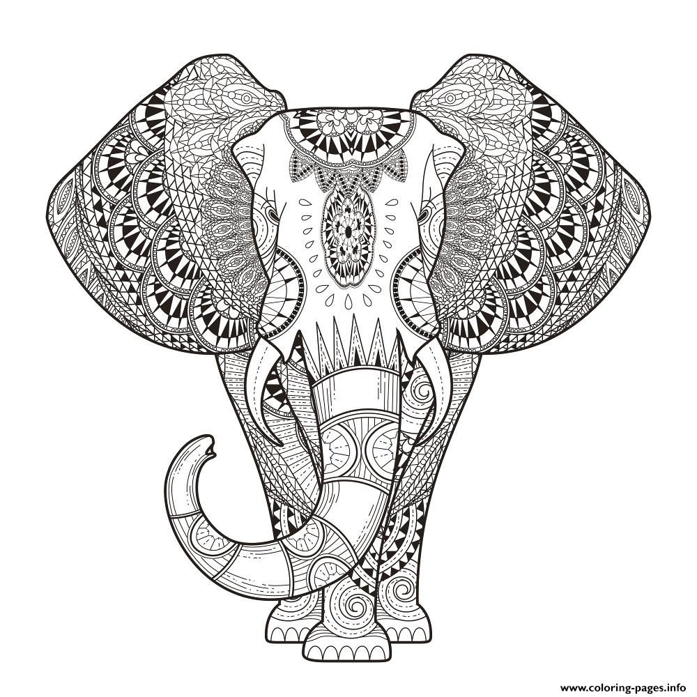 Print elephant for adult hard difficult zen anti stress ...   colouring pages animals hard