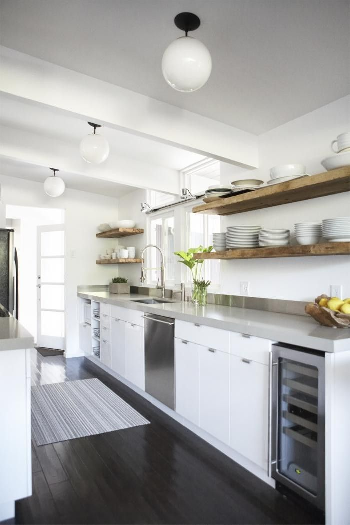 urban galley kitchen eichler house reclaimed wood floating on floating shelves kitchen id=95689