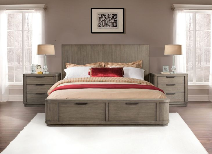 Precision Queen Low Storage Bed in Oak Riverside Home Gallery