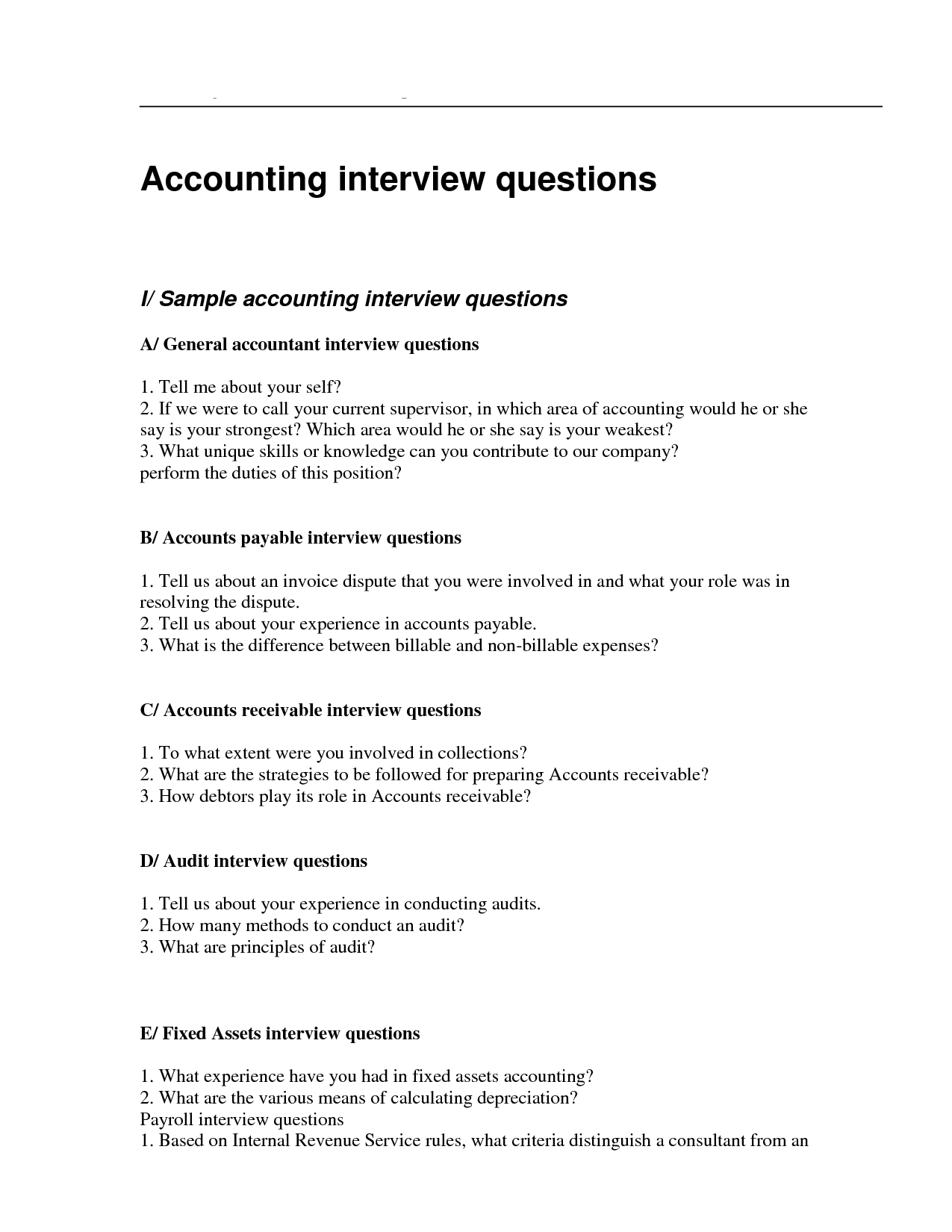 Accountant Interview Questionnaire Sample An Accountant
