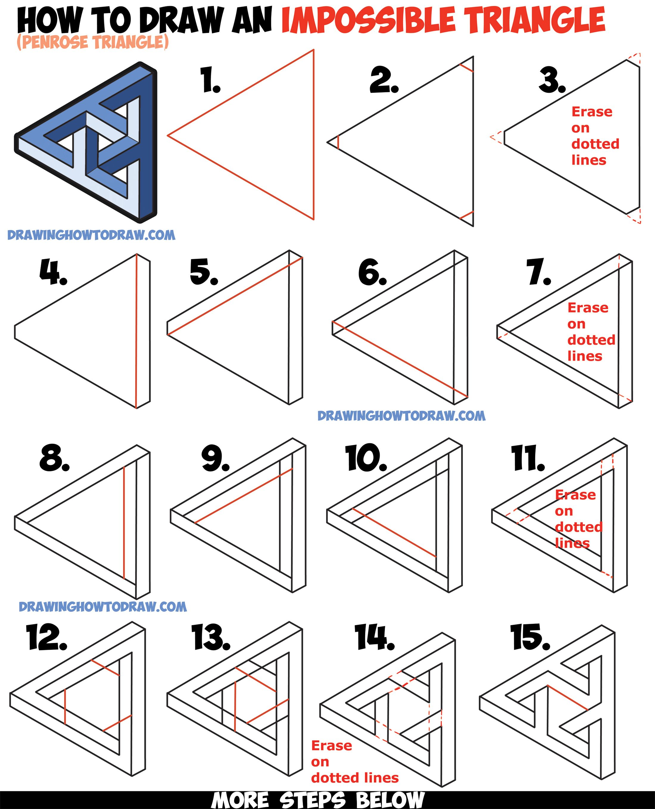How To Draw An Impossible Triangle Penrose Triangle That