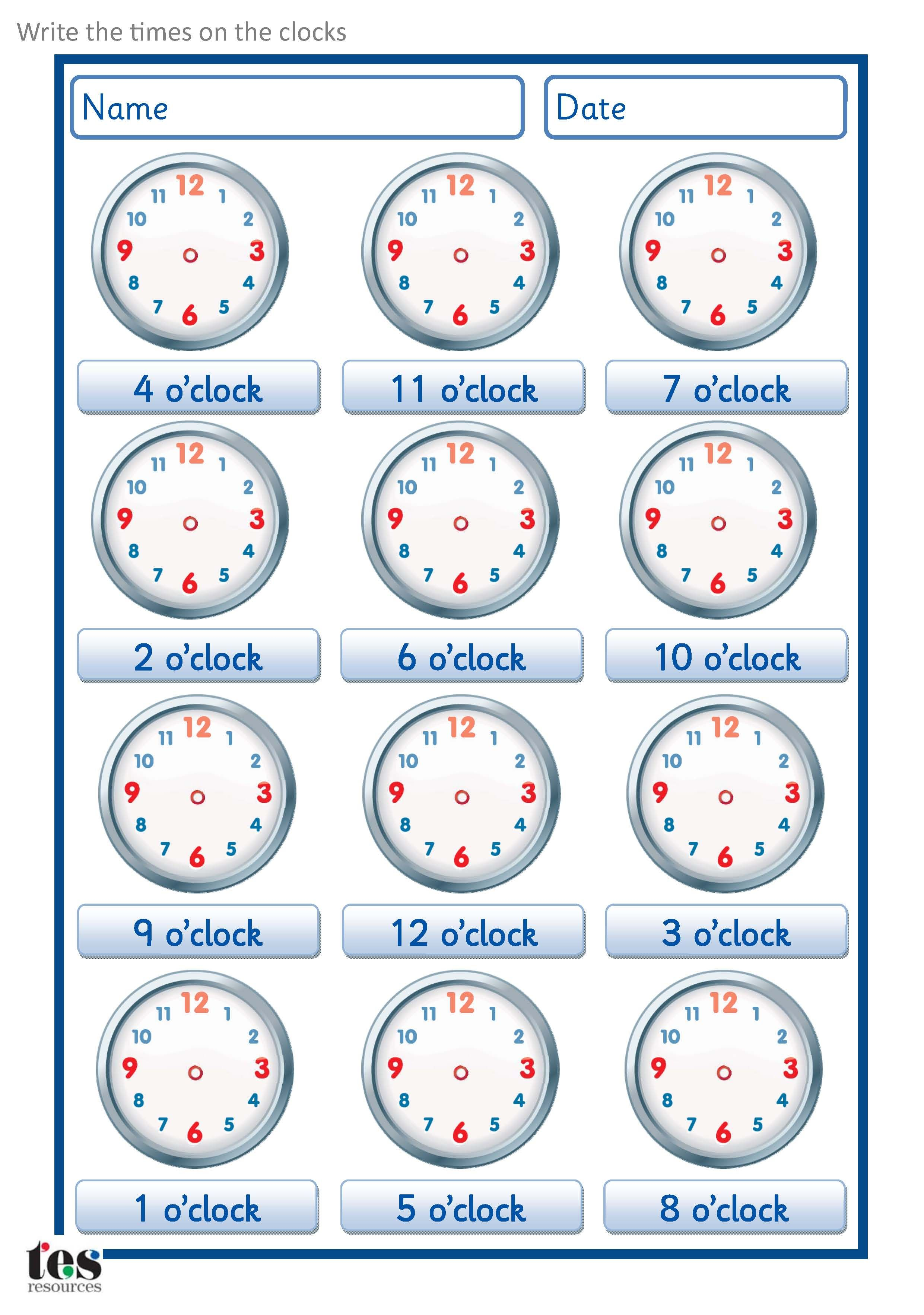 A Set Of Worksheets To Use When Developingogue Clock Skills Set Contains 4 Sheets Each