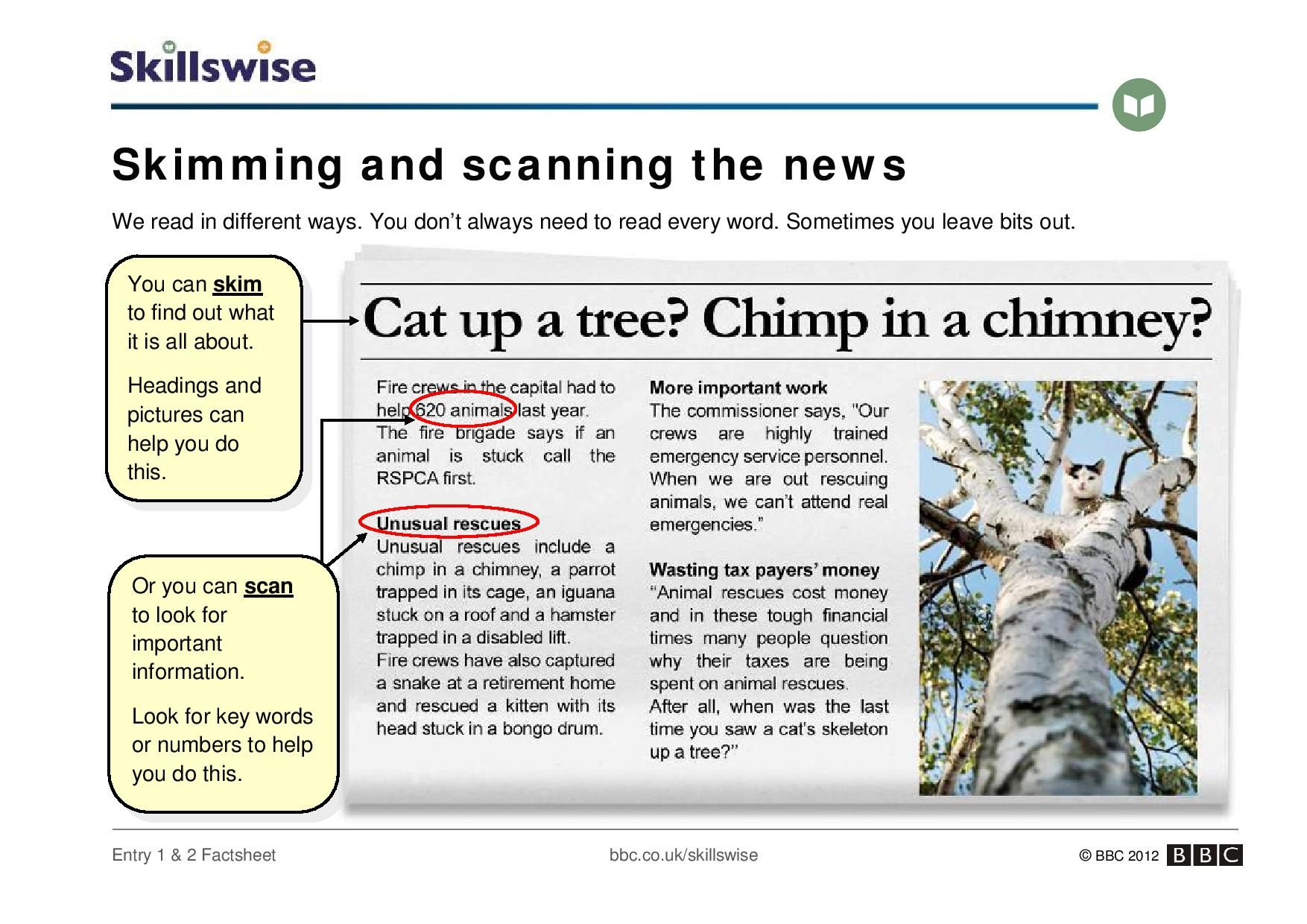 An Introduction To Skimming And Scanning A Newspaper