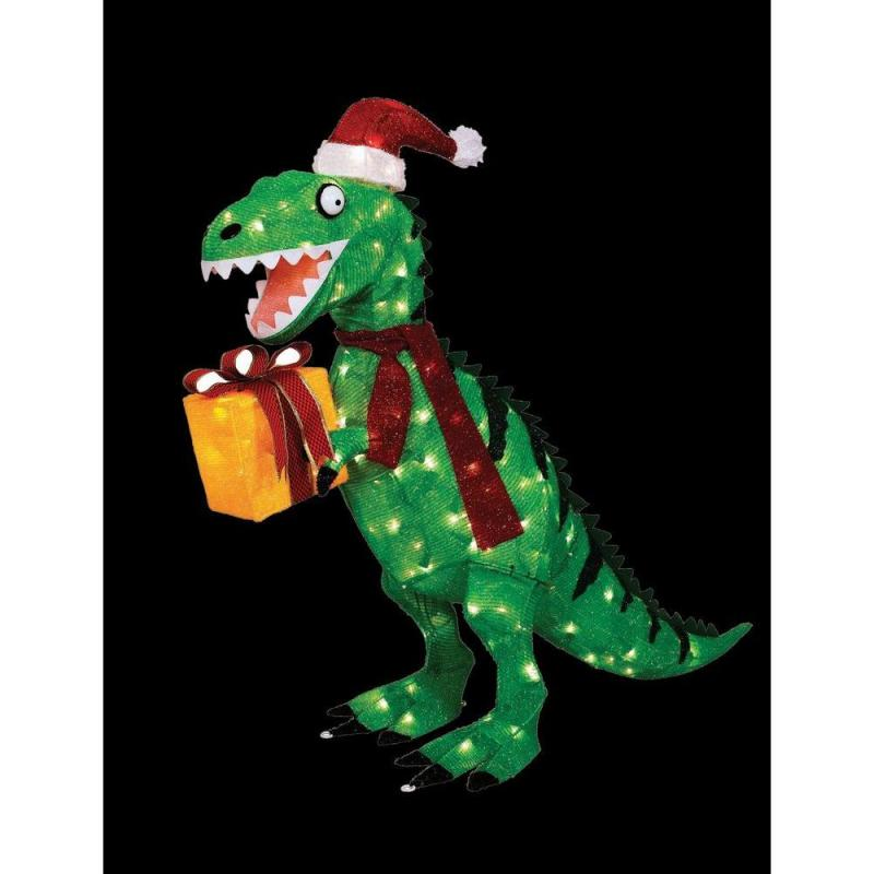 Animated Tinsel Dinosaur With Present Ty476 1214 At