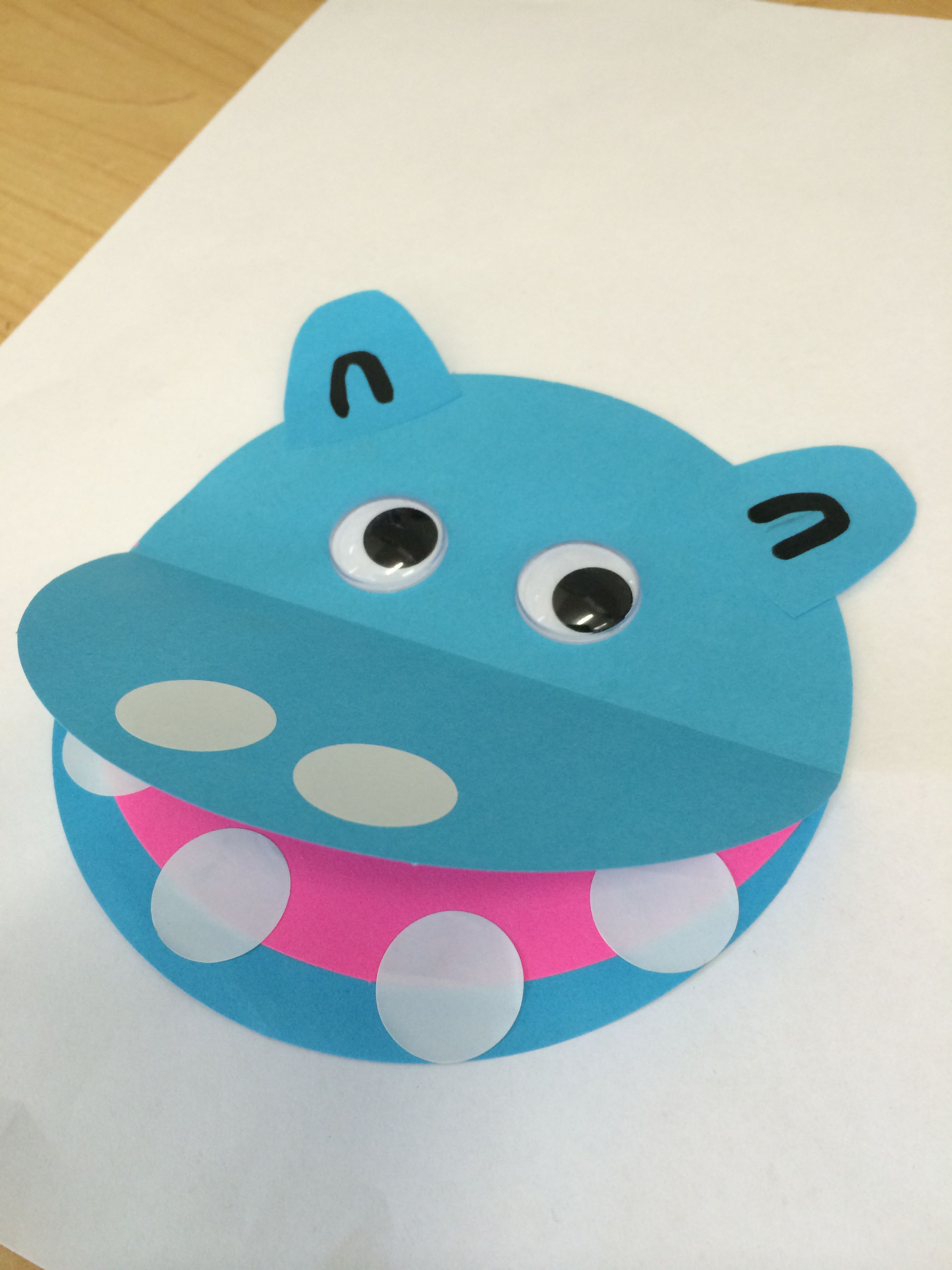 Hippo Kinder Circle Paper Y Eyes Glue White